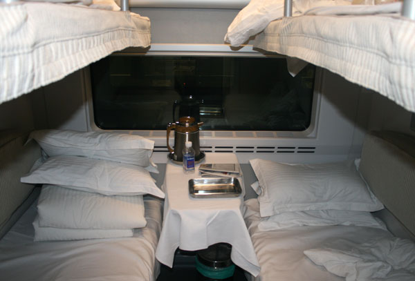 Inside the Soft Sleeper cabin on the D305