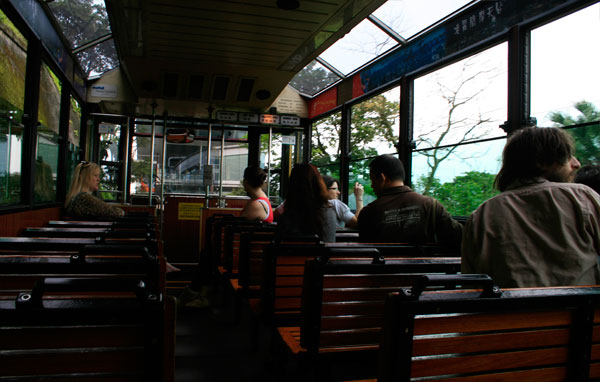 Inside the peak tram